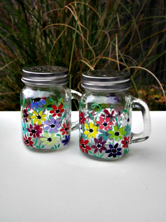 Salt and pepper shakers hand painted colorful flowers set of Colorful salt and pepper shakers