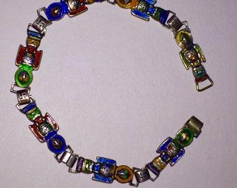 Vintage Native American Sterling Silver Enameled Totem Bracelet