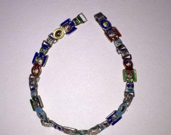 Vintage Sterling Silver Enameled Totem Bracelet
