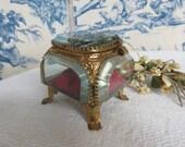 Antique French Glass & Gilt Metal Box Circa 1900 / Gorgeous Vintage Jewelry Box / Vintage Keepsakes Trinkets / Paris Apartment Chic Decor