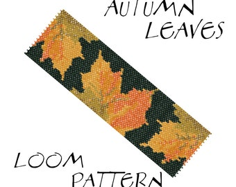 Loom bracelet pattern - AUTUMN LEAVES - 6 colors only - Instant download