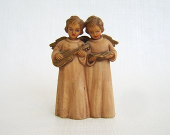 Vintage Angels, British Hong Kong, Angel Pair, Angel Figurine, Angel Ornament, Art Plastics, Mid Century, Fifties 50s, Tan Angel, Gold WIngs