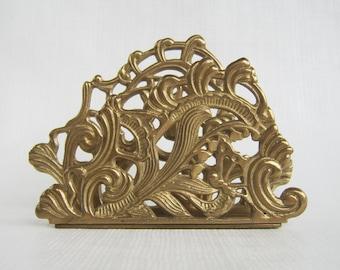 Vintage Brass Napkin Holder, Mail Organizer, Letter Organizer, Solid Brass, Napkin Caddy, Brass Holder
