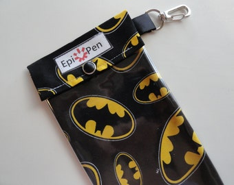 Epi Pen Pouch 4x8 Holds 2 Adult or Jr. Allergy Injector Pens w/ Clear Pocket and Clip - Batman on Black