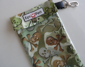 Skulls in Camo Epi Pen Pouch Clear Pocket with Clip Holds 2 Allergy Injector Pens Travel Case Fabric/Vinyl - 3 Sizes Men and Boys Gift