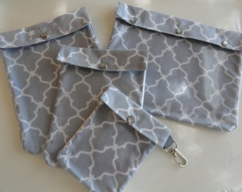 Clear Pocket Organizers - 4 Sizes First Aid Meds Cosmetics Diaper Bag Luggage Carry On  (Gray Quatrefoil Fabric)