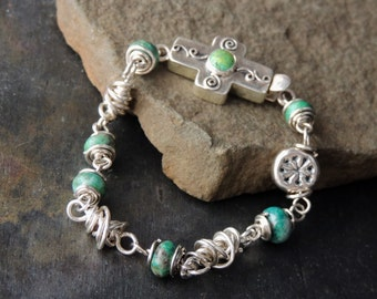 Sterling Silver Bracelet, Mexican Cross Clasp, Primavera Gemstones, Wire Wrapped, Silver Box Clasp, Artisan Jewelry, Southwestern Style