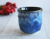Gorgeous Rich Shades of Blue Yunomi Cup Handcrafted Stoneware Teacup Ceramic Pottery Ready to Ship Made in USA