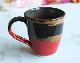 Handcrafted Coffee Cup Earthy Brown, Copper and Red Glazes Handmade Pottery Mug Wheel Thrown Stoneware Ready to Ship Made in the USA