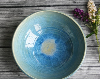 Gorgeous Ceramic Serving Bowl in Sea Glass Blue Glaze Handcrafted and Ready to Ship Made in USA Pottery Stoneware