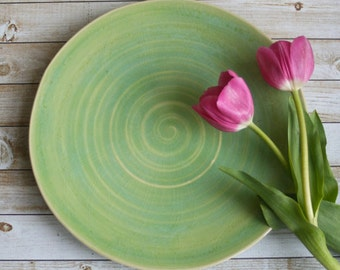 Rustic Ceramic Serving Platter in Spring Green Glaze Handmade Centerpiece Plate Pottery Dinnerware Ready to Ship! USA Made