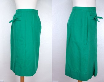 1960s Dalton Pencil Skirt Green Emerald Wool Fitted Secretary Wiggle Small Bow