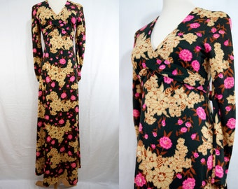 1970s Floral Maxi Dress Long Sleeve Festival Green Pink Crossover Bodice Small Medium Boho
