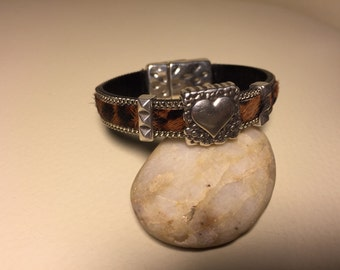 Leopard and leather bracelet