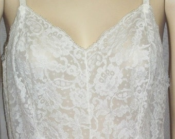 ON SALE Vintage Vanity Fair Full Slip 36 White Lace Nylon Chiffon Lacy