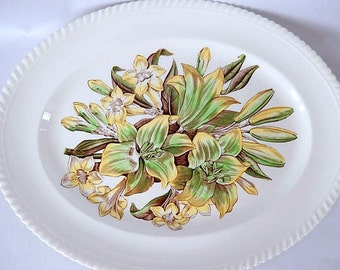 Johnson Brothers platter transferware, England, Old Flower Prints Lily and Jasmine, dining and serving, 1940s