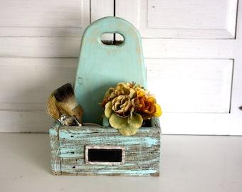 Blue Farmhouse Caddy- Utensil Storage- Wine Bottle- Wood Tote- Aqua Carry All