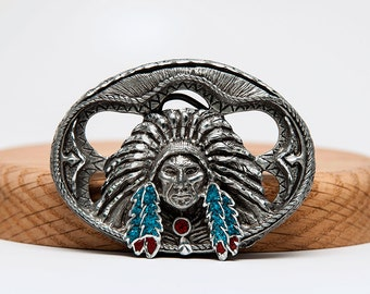 Indian Chief Head in a war Bonnet and Breastplate 3-D Belt Buckle