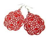 Red Painted Filigree Earrings. Moroccan Design, Boho Hippie, Gypsy