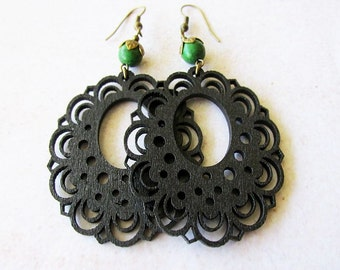 Black Wooden Lace Earrings with Green Magnesite Stone Beads . Dark Gypsy. Bohemian