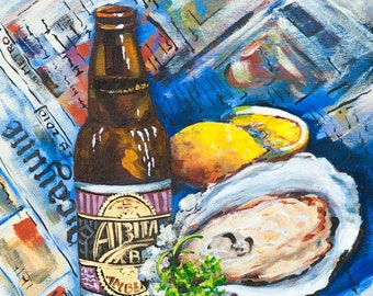 Oyster Painting, Abita Amber Beer, Seafood Art, New Orleans Seafood, New Orleans Artist, Louisiana Restaurant Food Scene, FREE SHIPPING