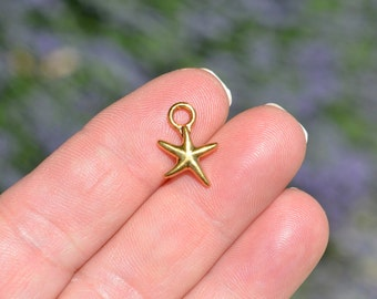 10 Gold Plated Starfish Charms GC3184