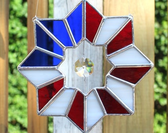 Patriotic American Flag Stained Glass Suncatcher