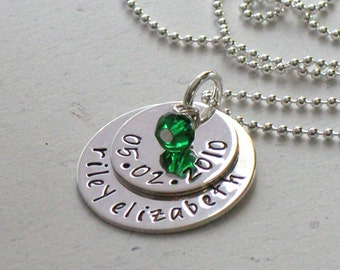 BIRTH - Personalized Hand Stamped Mommy Necklace - Babies Name Birth Date - Newborn - New Mom - Christina Guenther