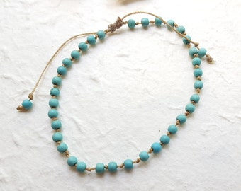 Sand and Water Anklet - Turquoise Adjustable Friendship Anklet Handmade - Beach Boho