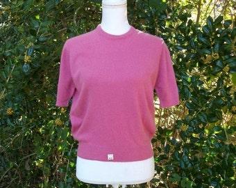 SALE 50s Rose Pink Cashmere Sweater size Medium Large Best & Company NOS Unworn