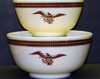 Vintage PYREX FEDERAL EAGLE Ovenwear Nesting 2 Bowls 1.5 478 Qt 3 Qt 479 Kitchen Mid Century Modern 1967 CrabbyCats, Crabby Cats WS1F