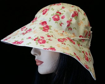 Reversible Cottage Hat Wide Brim Sun Hat in natural with red flowers and with adjust fit plus chinstrap for boating/convertibles/windy days