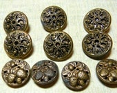 Antique Vintage Victorian Brass Buttons~2 Sets~One Pierced and Mirror Back and One Pierced with Strawberry Plants and Fruit