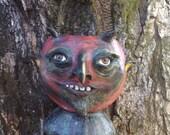 Folk Art Vintage style DEVIL HEAD bucket head paper mache