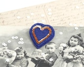 HEART French Gold Navy Blue Red Felt Brooch