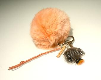 PEACH Pom Pom, Peach fur ball,  pom pom keychain, Bag Pendant, Peach Pom Pom, high fashion purse accessory