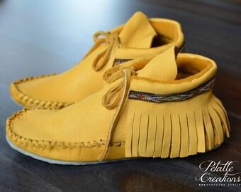 Ladies Fringe Mocassins, Fringe Mocassins, Handmade Shoes, Fringe Boots, Leather Shoes, Leather Mocassins, Fringe Boots, Made in Canada