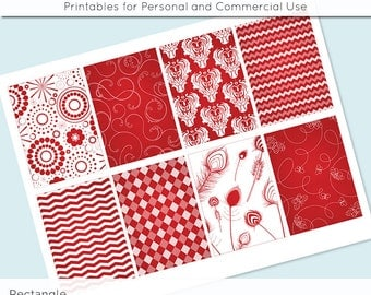 """Apple Red and White Patterns 2.5"""" x 3.5"""" for Printable Gift Tags Jewelry Holders Scrapbooking Cardmaking Digital Collage Sheet Images"""
