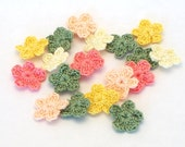 Crochet Flowers Set of 18 Yellow Peach Coral Olive