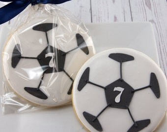 Soccer Ball Cookies - 12 Decorated Sugar Cookie Favors