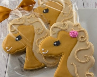 Horse Cookie, Pony Cookies - 12 Decorated Sugar Cookie Favors