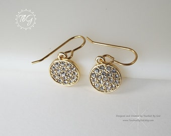 Earrings · Jewelry · Gold Round Charms · Rhinestones · Druzy Style · Solid Brass Ear Wires · Gift for Her