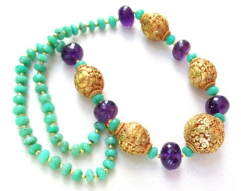 Chrysoprase, Amethyst and 22k gp Carved Focal Bead Necklace - Handmade Natural Gemstone Jewelry