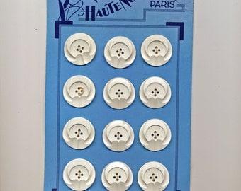 Original Card from Paris.  Twelve Casein White Plastic Buttons  - 1 Inch Diameter