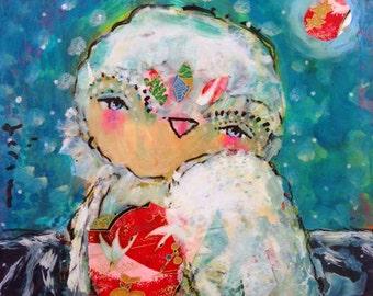 Listen - a Mixed Media Painting by Juliette Crane
