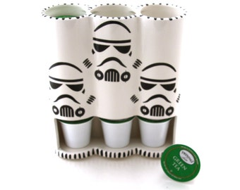 Star Wars Keurig cup holder, k-cup holder,handmade ceramic coffee maker accessory,storm trooper,gift for him