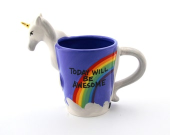 Unicorn mug with metallic gold horn large mug with rainbow and 3D unicorn, today will be awesome, can be personalized