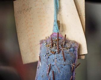 Vintage Pin Cushion, Sewing Photography, Still Life Photograph, Dark Purple, Periwinkle Decor, Abandoned Decay, Rust, Dark Moody, Urbex Art