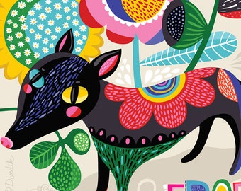 Wild & Free... - limited edition giclee print of an original illustration (8 x 10 in)