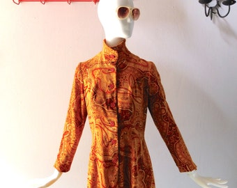 Vintage 1960s Paisley Velvet Dress by ANIKA Stockholm - Colorful Ochre Autumnal Print - Size M 6 8 10 - Mod Laurel Canyon Chic
